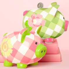 Pink and green gingham piggy banks Pink Piggy Bank, Piglet, Penny Bank, Paint Your Own Pottery, Cute Piggies, I Believe In Pink, Buy Toys, Pig Bank, Gifts Under 10