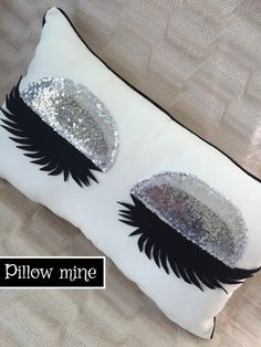 Silver sequin pillow Eyelash pillow Eyelash pillow case