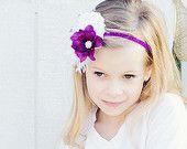 Flower Girl Headband, Violet Purple and White Headband on Glitter Elastic