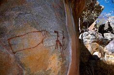 Tsodilo Hills. Schematic dancing woman facing outline hippopotamus all superimposing a giraffe facing left. http://africanrockart.org #africanrockart