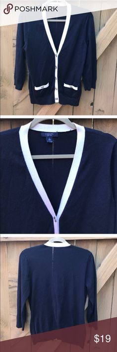 Chaps navy cardigan sweater size L Chaps navy with white piping cardigan sweater size L: bin 10 Chaps Sweaters Cardigans