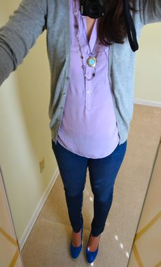 Grey cardigan, lilac sleeveless blouse, skinny jeans, espadrille wedges.  Outfit ideas for under $50