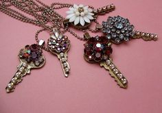 Cute idea for old keys...decorate with old jewelry trinkets & wear!