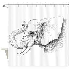 Elephant profile drawing Shower Curtain on CafePress.com
