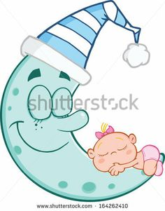 Cute Baby Girl Sleeps On Blue Moon - stock vector