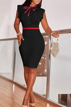 LovelyFashion Round Neck Ruffle Design Black Blending Sheath Knee Length Dress - Style Look Casual Work Dresses, Dresses For Work, Lovely Dresses, Office Outfits For Ladies, Ladies Clothes, Office Attire, Office Wear, Red Ruffle Dress, Black Ruffle
