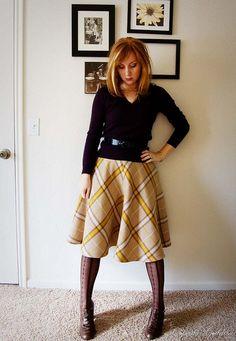 "Yellow plaid skirt - made with Burda Style's ""Linda"" circle skirt pattern:  http://www.burdastyle.com/pattern_store/patterns/linda"