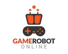 Game Robot is a stylized logo in the shape of a robot head together with a video game controller with the orange and black colors.(robot, game, mascot, games, joystick, app, android, online, character, website).