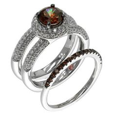 Suzy Levian Sterling Silver Brown Chocolate and White Cubic Zirconia 2-Piece Engagement Ring http://www.overstock.com/10543327/product.html?CID=245307