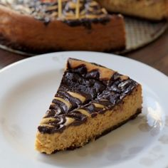 Pumpkin cheesecake with chocolate-stout ganache swirl.
