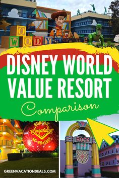 Disney value resort comparison. Find out how the different value hotels at Disney World compare! Which will be the perfect place to stay on your next family vacation? See a side by side comparison of Disney's Art of Animation, Pop Century Resort Disney Value Resorts, Disney World Hotels, Disney Vacations, Best Family Vacations, Family Vacation Destinations, Vacation Deals, Travel Hacks, Travel Advice, Disney Art Of Animation