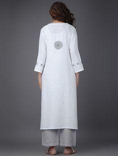 Ivory Linen Kurta with Bead Work - Hijab Fashion, Boho Fashion, Fashion Outfits, Fashion Design, Mode Kimono, Embroidery Online, Black Wardrobe, Mode Hijab, Kurta Designs