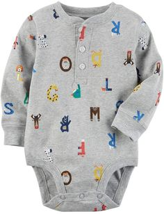 Carter's Baby Boy Printed Henley Bodysuit