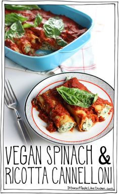 Fresh spinach and basil mixed with easy to whip up dairy-free ricotta, stuffed into cannelloni pasta, and coated in tomato sauce. Vegan Spinach & Ricotta Cannelloni is so delicious no one will even know it's vegan! #itdoesnttastelikechicken #vegan #food #glutenfree #dairyfree #vegetarian #cleaneating #foodgasm #healthyfood #veganfood #veganrecipes