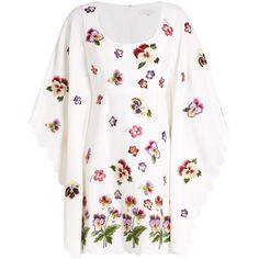 Andrew Gn Floral-appliqué kimono-sleeve crepe dress ($3,017) ❤ liked on Polyvore featuring dresses, white embroidered dress, floral dresses, embroidery dresses, white summer dress and fit and flare dress