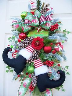 Santa Boot Swag Wreath Alternative Christmas Holiday Decoration | eBay $84.95