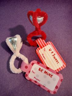 Kiss rings - made these for my son's 2nd grade class for the girls. Too cute. We didn't have the tags. Loved this one!