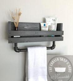 Bathroom shelf with towel bar Towel holder Bathroom towel bar Bathroom Wall Mounted Shelf Modern Industrial bathroom towel bar Rustic shelf Bathroom Towel Storage, Bathroom Towels, Bathroom Shelves, Bathroom Wall, Bathroom Ideas, Bathroom Cabinets, Bathroom Organization, Bathroom Remodeling, Bathroom Makeovers