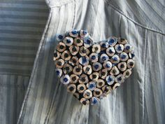 Heart Eco-friendly Brooch - Colored Pencils Jewellery Black Blue - Upcycled Repurposed - Julia Eubio on etsy