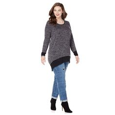Melissa McCarthy Seven7 Hi-Lo Marled Sweater with Trim