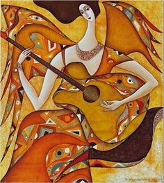 Playing the Angel by Wlad Safronow. (Oil Canvas)