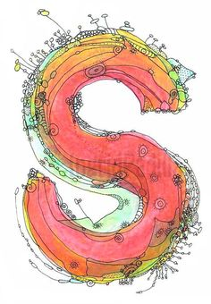 "Items similar to Whimsical letter S funky Art Print  ""It's a Beauty"" 11"" x 14"" on Etsy"