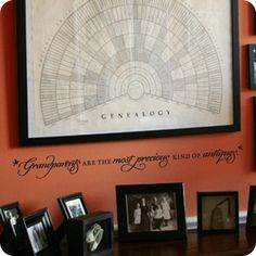 """Nice #genealogy chart. I love how they've taken the chart much further with the addition of the quote to the wall just below the framed chart: """"Grandparents are the Most Precious Kin of Antiques,"""" and the display of smaller framed photos on the table top. Listen to the free Genealogy Gems Podcast in iTunes and learn how to find our own family history."""