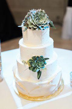 Succulent-adorned layered cake: http://www.stylemepretty.com/missouri-weddings/st-louis/2015/08/12/classic-romantic-st-louis-winter-wedding/   Photography: Turner Creative - http://www.turnercreative.net/