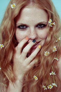 daises in hair