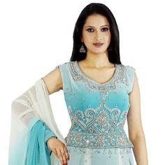 Shaded Aqua Blue Faux Georgette Paneled Lehenga Choli With Dupatta Online Shopping: LSD46