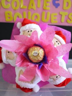 Santa Claus Flower Bouquet with Ferrero Rocher Chocolate. Perfect & Unique Christmas Gift
