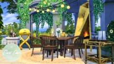 """peacemaker-ic: """" Oasis-Chic Dining - Outdoor Furniture Set About time I finished this set. My first attempt at objects specifically designed for outdoor use (but work well indoors too). Round Dining Table, Outdoor Dining, Outdoor Decor, Used Outdoor Furniture, Wicker Dining Chairs, Best Sims, Tulips In Vase, Sims 4 Cc Furniture, Sims House"""