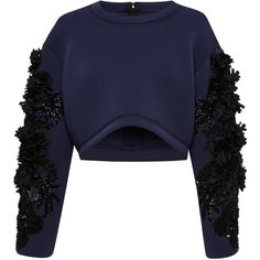 Embroidered Neoprene Crop Top | Moda Operandi ($3,725) ❤ liked on Polyvore featuring tops, crop tops, cut-out crop tops, neoprene crop top, neoprene top and embroidery top
