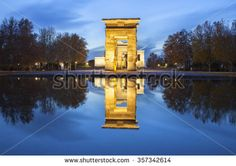 Temple of Debod at dusk. Ancient Egyptian temple which was dismantled and…