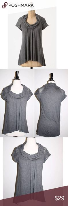 "ANTHROPOLOGIE SWIVEL REVOLUTION COWLNECK TOP 1.9 Anthropologie Swivel Revolution Top  by 1.9 One September, retail price $58, brand new without the tag, inner label marked   Details:  A twisty cowlneck tops a sheer-sleeved, slightly-longer-in-back creation. By one.september. Rayon, cotton Hand wash 29""L Imported Style No. 23556459 Armpit to armpit flat 18"" Anthropologie Tops Blouses"