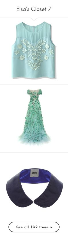 """""""Elsa's Closet 7"""" by summersurf2014 ❤ liked on Polyvore featuring tops, blue, floral tops, see through tank tops, green sequin top, layering tank tops, green tank top, dresses, gowns and long dresses"""