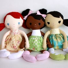 Want to make a doll? These were easy, even for novice me. I made them in all sorts of color combos: Mae Doll PDF Pattern. $11 via bitofwhimsyprims on Etsy.