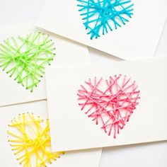 Easy DIY Mother's Day Cards | String Art Ideas by DIY Projects at https://diyprojects.com/diy-crafts-homemade-mothers-day-cards/