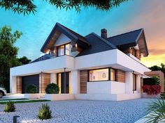 DOM.PL™ - Projekt domu DM Opałek X 2G CE - DOM GM3-32 - gotowy koszt budowy Modern House Floor Plans, Small House Plans, Modern Bungalow Exterior, Steel Framing, Architectural House Plans, Welcome To My House, Home Design Plans, Home Fashion, Planer