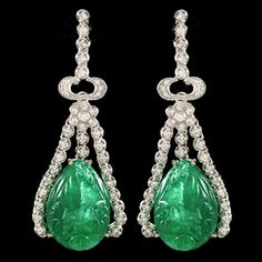 Carved Emerald and Diamond Earrings set in White Gold, c. 1920's