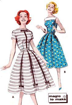 robe années 1950 patron Butterick 9602 jupe plein jour ou robe de soirée Womens Vintage Sewing Pattern buste 36