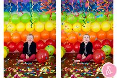 balloon rainbow taped to wall in rows, streamers hanging from ceiling and confetti