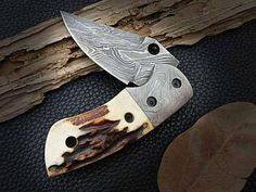 Handmade Damascus steel folding knife with stag horn handle leather sheath beautiful gift pocket knife