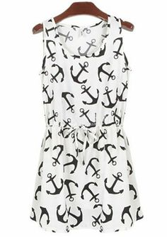 White Sleeveless Anchors Print Pleated Dress pictures.  (So cute for the summer!)