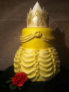Free video cake decorating class on how to make Belle's Dress -- Beauty and the Beast Birthday Cake.  Video by Teri Lyddiard at CakePlayGround.com