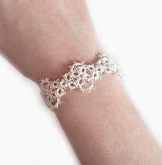 Ivory Lace Bridal Bracelet in Tatting  Mina by TataniaRosa on Etsy, $25.00
