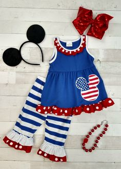 USA 4th July Blue Star Bodysuit Red White Striped Girls Baby Dress Outfit NB-18M