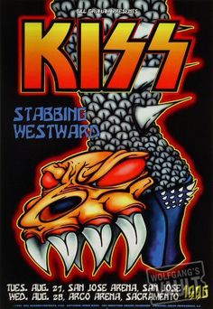 Kiss Poster, San Jose Arena (San Jose, CA) Aug 27, 1996. Classic rock music concert poster psychedelic ☮ ☮❥Hippie Style❥☮☮