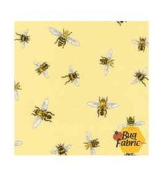 Everyday Favorites: Bees Yellow - Robert Kaufman 13398-5 -- 1 yard 15 inches remaining for $14.90