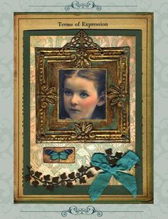collage assemblage by @Rande Hanson with a sweet PaperWhimsy face and wee butterfly.